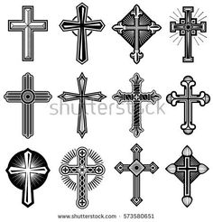 Catholic christian cross with ornament vector icons. Set of religious crosses, illustration of black white cross of christ Cross Tattoo For Men, Cross Tattoo Designs, Cross Designs, Rosas Vector, Cruz Tattoo, Cross Clipart, Catholic Tattoos, Cross Drawing, Cross Pictures