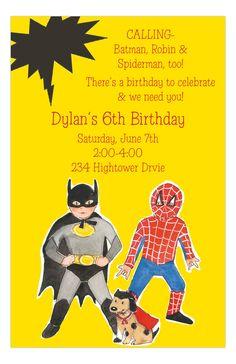 Super hero party invites
