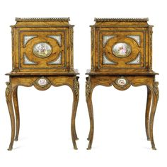 A Pair of Victorian Walnut, Porcelain and Gilt-Brass Mounted Cabinets. Victorian Furniture, French Furniture, Fine Furniture, Antique Furniture, Furniture Design, Continental, Antique Cabinets, Art Decor, Home Decor