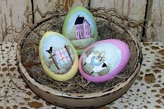 Easter Eggs in Bowl Hand Painted  Primitive Folk Art by Raggedy Jan $12.98, via Etsy.