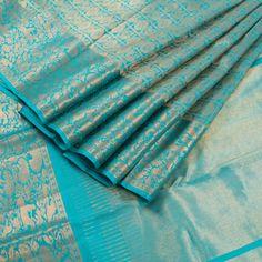 Ghanshyam Sarode Iris Blue Handwoven Kanchipuram Silk Sari with Mayil Chakaram Motif & Shikargarh Border 10002466 - AVISHYA