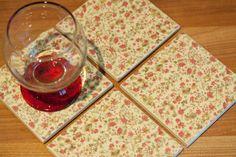 Ceramic coasters - vintage beige tile coasters with pink wild flower print – set of 4