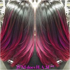 """I used Joico's Color Intensity in Magenta and Scruples Purple. I blended the purple into the magenta. I love Darlyn's love of fun colors…"""" Pravana Hair Color, Joico Color, Hair Color Pink, Pink Hair, Hair Colors, Beautiful Hair Color, Pretty Hair, Hair Hacks, Hair Tips"""