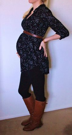 36 weeks pregnant, Prego belly, Maternity fashion, third trimester outfit, boots with black leggings and Motherhood Maternity top with brown belt Cute Maternity Outfits, Fall Maternity, Stylish Maternity, Maternity Tops, Maternity Fashion, Maternity Swimwear, Maternity Clothing, Nursing Clothing, Maternity Styles