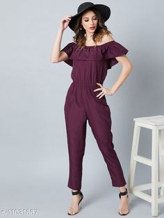 Checkout this latest Jumpsuits Product Name: *Desiner Off Shoulder Ruffled  Jumpsuit* Fabric: Poly Crepe Pattern: Solid Multipack: 1 Sizes:  M (Bust Size: 36 in, Length Size: 52 in, Waist Size: 31 in, Hip Size: 38 in)  L (Bust Size: 38 in, Length Size: 52 in, Waist Size: 33 in, Hip Size: 40 in)  XL (Bust Size: 38 in, Length Size: 52 in, Waist Size: 35 in, Hip Size: 42 in)  XXL (Bust Size: 40 in, Length Size: 52 in, Waist Size: 37 in, Hip Size: 44 in)  Country of Origin: India Easy Returns Available In Case Of Any Issue   Catalog Rating: ★3.9 (243)  Catalog Name: Trendy Fabulous Women Jumpsuits CatalogID_2046951 C79-SC1030 Code: 214-11031667-2121