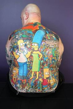This insane back tattoo was inked by Jade Baxter Smith. #InkedMagazine #TheSimpsons #tattoo #tattoos #characters #show #TV #iconic #nostalgia #ink #Inked