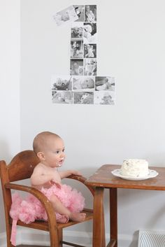 Make a one for 1st birthday with photos of baby
