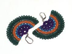 Peacock Crochet Bohemian Chic Dangle Earrings by PinaraDesign