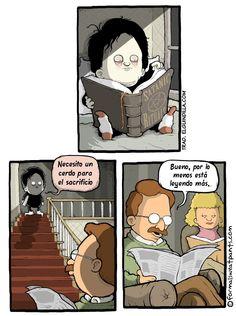 El niño está leyendo más.