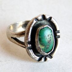 Vintage Navajo Sterling Silver and Green by vintagedazzle on Etsy