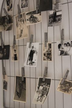 print out pics of family in black and white and sepia and hang clothes line style with clothespins.