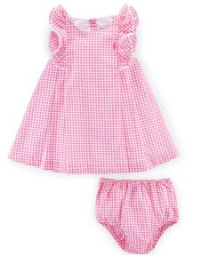 Sleeveless Double-Face Gingham Shift Dress w/ Bloomers, Pink, Size Months by Ralph Lauren Childrenswear at Neiman Marcus. Toddler Dress, Toddler Outfits, Baby Outfits, Kids Outfits, Baby Girl Fashion, Kids Fashion, Baby Girl Skirts, Baby Dress Design, Frocks For Girls