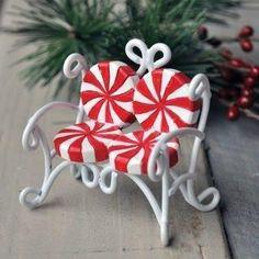 Candy Cane Love Seat Mini Fairy Furniture: Fairy Garden Holiday Theme