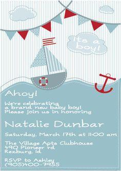 Ahoy Sailor Baby Shower Invitation