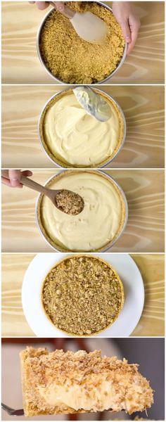 Torta de Leite Condensado com Farofa Crocante de Coco (veja a receita passo a passo) #torta #leitecondensado #tortadeleitecondensado tortacrocante #sobremesa #tastemade