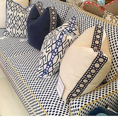 tape trim on pillow edges ~ Lacefield pillows on our classic Dallas Sofa. Perfection! Stop by the showroom @adacatlanta and check us out! @lacefield_ @taylorburkehome #customfurniture #interiors #interiordesign #interiordesigner #homedecor #luxurydecor #luxurypillows #pillows #decorativepillows