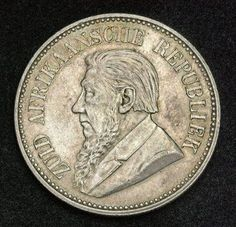 South African Republic Silver Half Crown Coin Shillings) of Numismatic Collection, silver coins. Bearded bust of Paul Kruger as President. Bullion Coins, Silver Bullion, Foreign Coins, Gold Stock, Antique Coins, World Coins, Rare Coins, African History, Coin Collecting