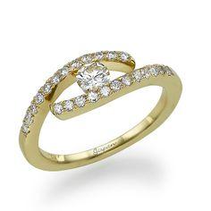Art Deco Engagement Ring 14K Gold And Diamonds  by gispandiamonds