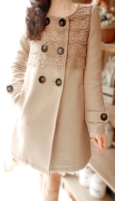 Lace coat! Though I am not a huge fan of the fact it doesn't have a belt or some sort of cinch at the waistline.