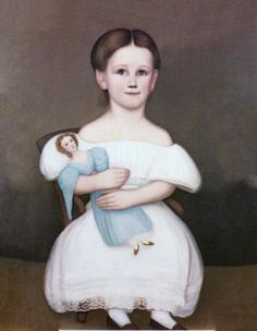 American Folk Art Painting Portrait by Unknown Artist - Deborah Thompson 1838 - 20 x 16 Approximate Original Size in Inches