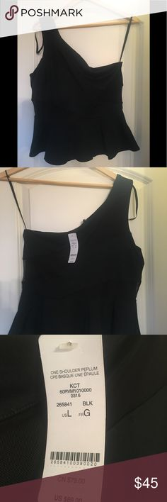Bebe One Shoulder Peplum Top Black Bebe One Shoulder Peplum Top Size L, New with tags. bebe Tops Tank Tops