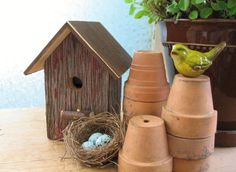 Rustic Repurposed Red Barnwood Birdhouse Garden Art. $18.00, via Etsy.