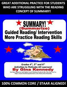AUTHENTIC WAY TO INTRODUCE SUMMARY, RETEACH OR REVIEW SUMMARY SKILLS BEFORE THE STATE EXAM! The students will read multi-cultural tales in a guided reading setting in which they will focus on creating summaries. Six multi-cultural stories are provided with follow-up stories and BONUS questions that deal with author's purpose, tone, mood, figurative language and more. This is an excellent easy intervention for those students who are struggling with reading and the reading concept of summary.