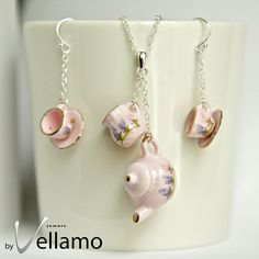Miniature porcelain pink tea set jewelry set with tea pot pendant, tea cup earrings, sterling silver necklace and ear rings via Etsy