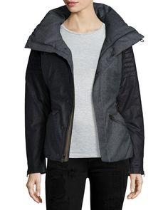 Joan of Arctic Wool and Leather Jacket, Charcoal/Heather Gray