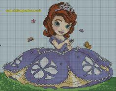 Princess Sofia 1 of 2 Disney Stitch, Cross Stitch For Kids, Cross Stitch Baby, Cross Stitching, Cross Stitch Embroidery, Cross Stitch Designs, Cross Stitch Patterns, Sofia The First Cartoon, Cross Stitch Pictures