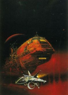 Two versions of Peter Andrew Jones 1977 cover toStranglers Moon by E. E. Doc Smith.
