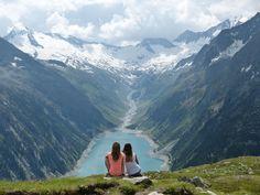 Lake Schlegeis from Hintertux glacier/ Schlegeisspeicher in Austria(Zillertal)