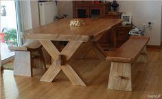 Τραπέζι με τραβέρσα Dinner Table, Table And Chairs, Rustic, Dining, Furniture, Home Decor, Rustic Furniture, Wood, Dinning Table