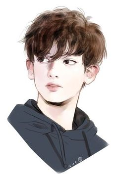 k anime art, exo fan art и exo anime Exo Anime, Anime Guys, Anime Art, Kpop Fanart, Korean Boy Hairstyle, Korean Hairstyles, Cover Wattpad, Chibi, Boy Drawing
