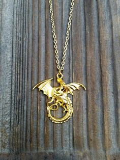 Mal's Gold Dragon Necklace, Disney Descendants Inspired Mal Costume Necklace, DND, GoT, Mal Costume Jewelry, Gold Dragon Pendant Descendents