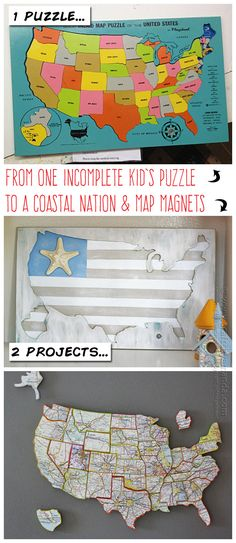 She took one incomplete wood U.S. map puzzle and turned it into two projects perfect for your home! (Amanda Formaro, Crafts by Amanda)