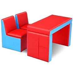Costzon Kids Sofa 2 In 1 Multi Functional Table Chair
