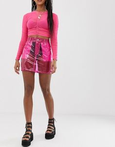 Order One Above Another mini skirt in transparent vinyl online today at ASOS for fast delivery, multiple payment options and hassle-free returns (Ts&Cs apply). Get the latest trends with ASOS. Asos, Safari, Pvc Skirt, Vinyl Mini Skirt, Vinyl Style, Vinyl Clothing, Mode Online, Stage Outfits, Looks Style