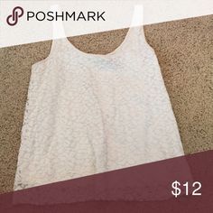 White lace tank Perfect condition. American Eagle Outfitters Tops Tank Tops