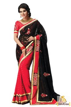 #Black and #Red Color Party Wear Sarees
