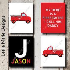 BABY BOY NURSERY  Firefighter Fire Truck by LeslieMarieDesigns