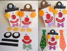 Risultati immagini per pagliacci maestra valentina Circus Crafts, Carnival Crafts, Carnival Decorations, School Decorations, Clown Party, Circus Party, Diy Crafts For Kids, Arts And Crafts, Paper Crafts