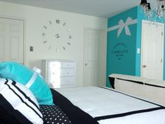 Teen Tiffany & co. Inspired room Black, white and turqouise inspired room.