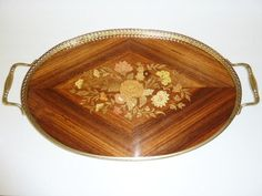 Vintage Oval Brass Inlaid Wood Serving Tray by QueensgateVintage