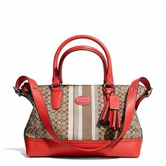 b6496f45d17f COACH SIGNATURE STRIPE EAST/WEST SATCHEL $219 Coach Handbags Outlet, Coach  Outlet, Coach
