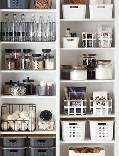 Container Store items. Organization. Glass storage containers. Black and white. Modern storage containers. Food containers. Storage basket. Food basket. Pantry storage. Marie Kondo. #smallkitchenstorage #kitchenstorage