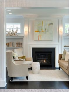 Furniture Placement Sconces Built Ins Living Room With FireplaceFireplace