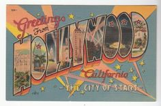 [43459] 1956 LARGE LETTER POSTCARD GREETINGS from HOLLYWOOD, CALIFORNIA | eBay