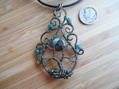 Tree of Life Pendant Llanite and Apatite Wire by OurFrontYard, $37.77