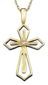 bd9d74cfa 14K Soild Gold Diamond Cross Pendant Necklace. Get the lowest price on 14K  Soild Gold